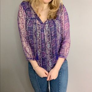 American Eagle Patterned Blouse Top
